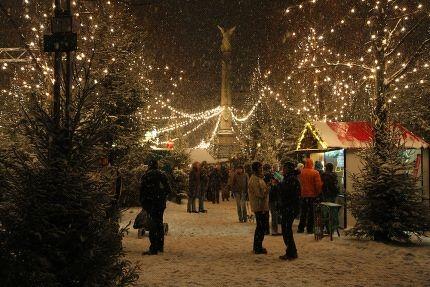 Kerstmarkt Oude Stadscentrum Van Oberhausen Oberhausener